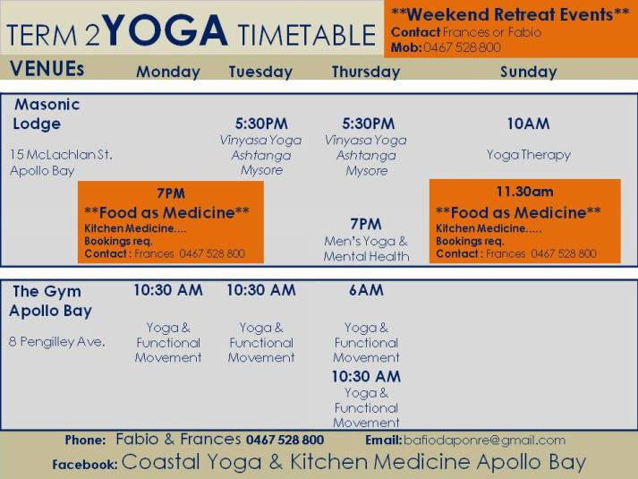 Apollo Bay Yoga Class Timetable |